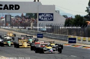 Williams FW11 Honda Turbo Mansell leads Piquet etc. French GP start 1987 . Photo